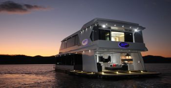 The Houseboat Factory 007 Entertainment Area – Rear View at night (2)